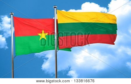 Burkina Faso flag with Lithuania flag, 3D rendering