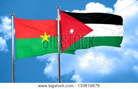 Burkina Faso flag with Jordan flag, 3D rendering