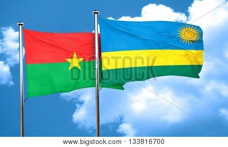Burkina Faso flag with rwanda flag, 3D rendering