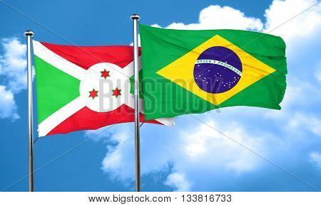 Burundi flag with Brazil flag, 3D rendering