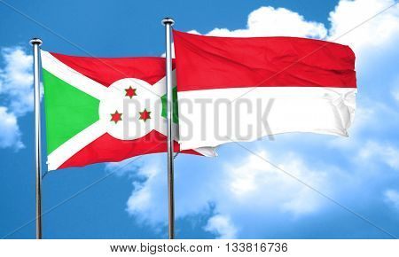 Burundi flag with Indonesia flag, 3D rendering