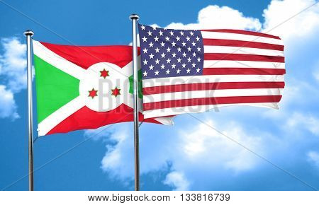 Burundi flag with American flag, 3D rendering