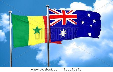 Senegal flag with Australia flag, 3D rendering