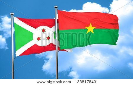 Burundi flag with Burkina Faso flag, 3D rendering