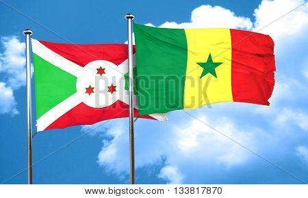 Burundi flag with Senegal flag, 3D rendering