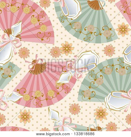 Seamless pattern with perfume bottles, fans and flowers.