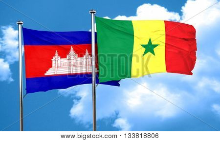 Cambodia flag with Senegal flag, 3D rendering