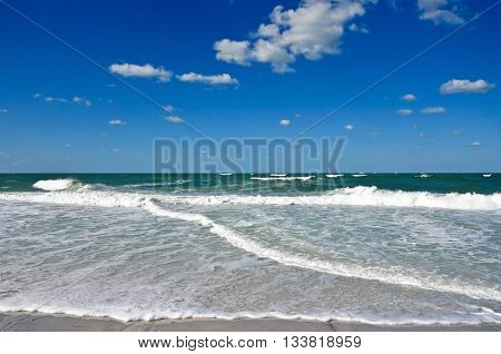 Ocean Waves and Surf on the Sandy Beaches of Anna Maria Island