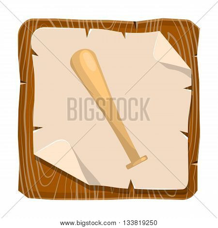Baseball bat vector icon. Vector colorful illustration