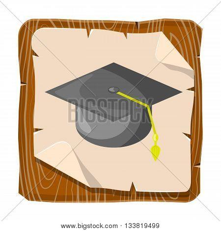 Graduation cap colorful icon. Graduation cap vector illustration