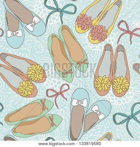 Flat womens balet shoes vector seamless pattern.