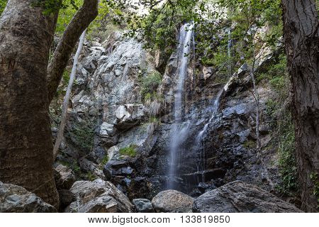 Beautiful waterfall in the forest. Cyprus . Caledonia Falls.