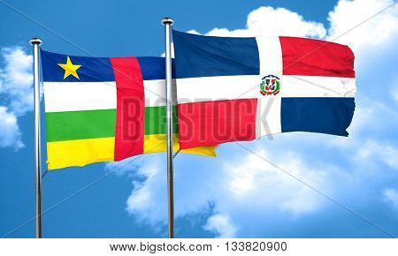 Central african republic flag with Dominican Republic flag, 3D r