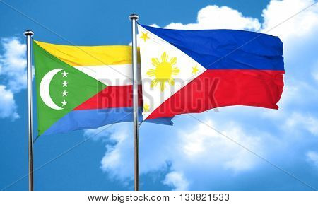 Comoros flag with Philippines flag, 3D rendering