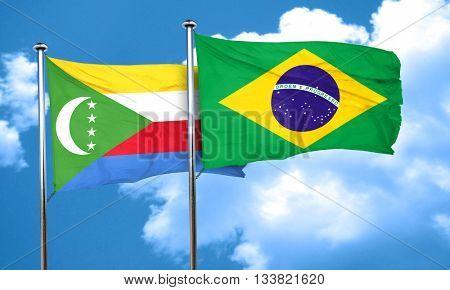 Comoros flag with Brazil flag, 3D rendering