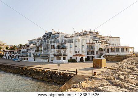 Roc de Sant Gaieta is a small fishing village in the Mediterranean sea in Roda de Bera Tarragona Catalonia Spain.