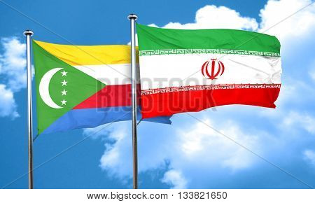 Comoros flag with Iran flag, 3D rendering