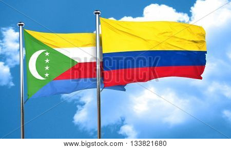 Comoros flag with Colombia flag, 3D rendering