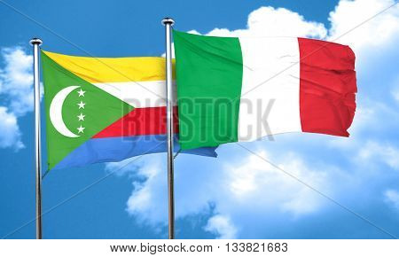 Comoros flag with Italy flag, 3D rendering