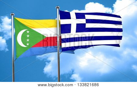 Comoros flag with Greece flag, 3D rendering