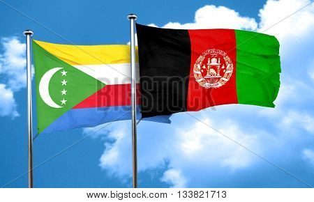 Comoros flag with afghanistan flag, 3D rendering