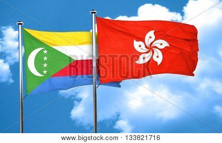 Comoros flag with Hong Kong flag, 3D rendering