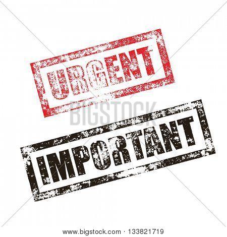 Urgent stamp of red grunge square vintage rubber print. Important black stamp. File document seal. Post delivery ink vector imprint.