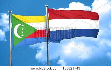 Comoros flag with Netherlands flag, 3D rendering