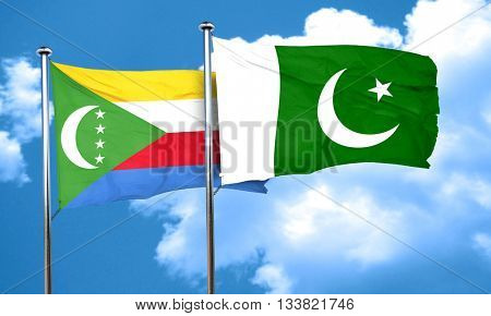 Comoros flag with Pakistan flag, 3D rendering