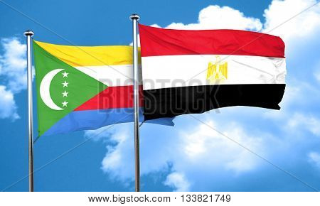 Comoros flag with egypt flag, 3D rendering