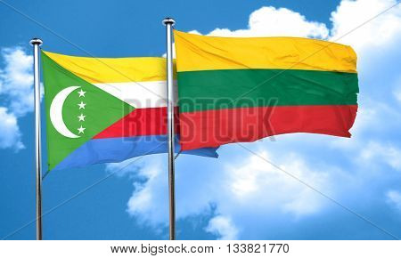 Comoros flag with Lithuania flag, 3D rendering