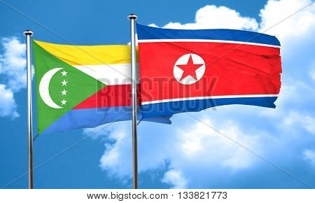 Comoros flag with North Korea flag, 3D rendering