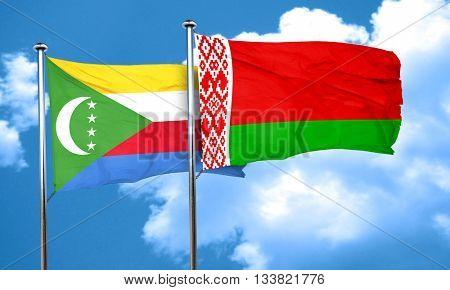 Comoros flag with Belarus flag, 3D rendering