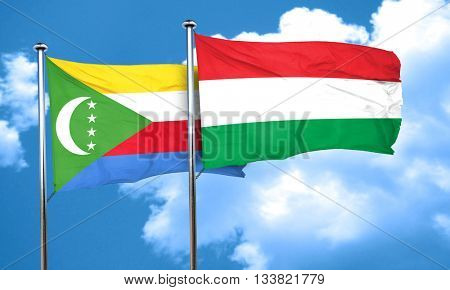 Comoros flag with Hungary flag, 3D rendering