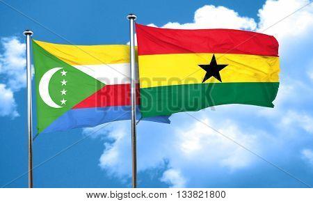 Comoros flag with Ghana flag, 3D rendering