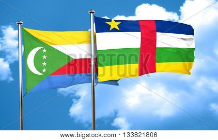 Comoros flag with Central African Republic flag, 3D rendering
