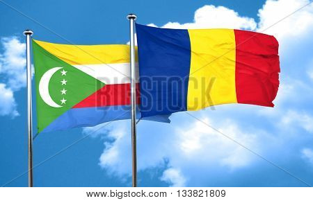 Comoros flag with Romania flag, 3D rendering