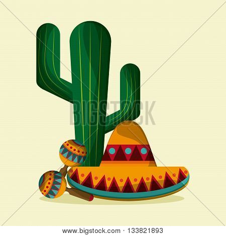 Mexico culture icons in flat style design, maraca, cactus and hat. vector illustration