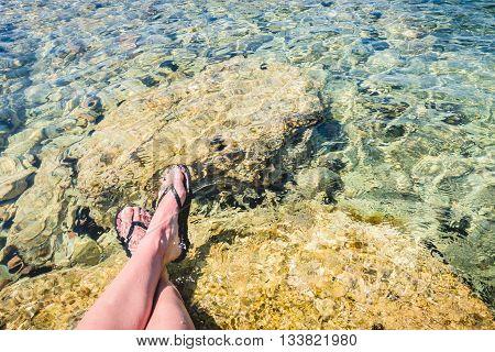 Relax at the seashore of aegean sea crystal waters
