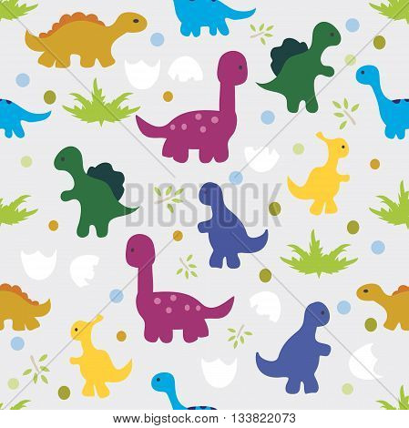 Vector illustration. Seamless pattern of silhouettes of dinosaurstrees and egg shell on gray background.