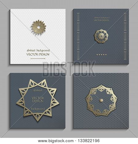 Set of business cards with gold 3d emblems. Elegant abstract composition, creative round shape icon, vertical flyer, banner in golden, gray and white tones. Vector EPS10