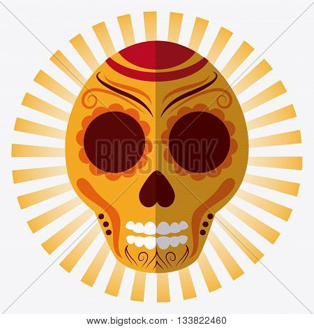Mexico culture icons in flat design style, skull vector illustration