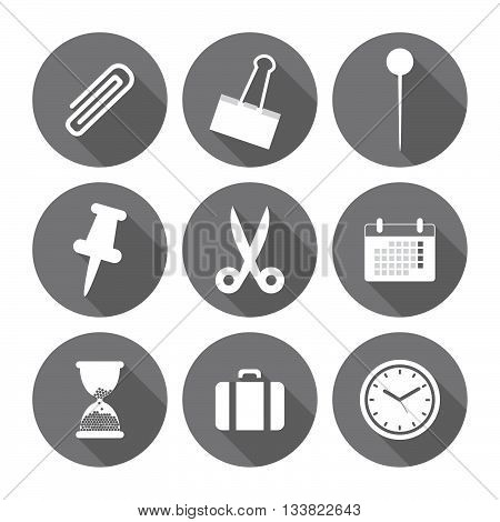 Office Icons And Signs Flat Design Monochrome Series