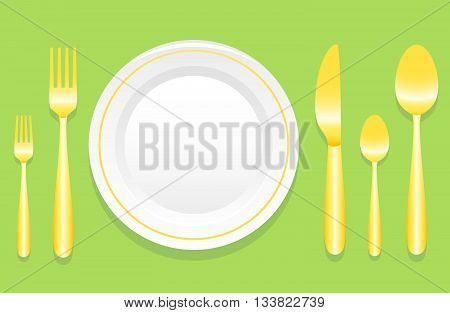Plate And Golden Cutlery Layout With Laurel Wreath Over