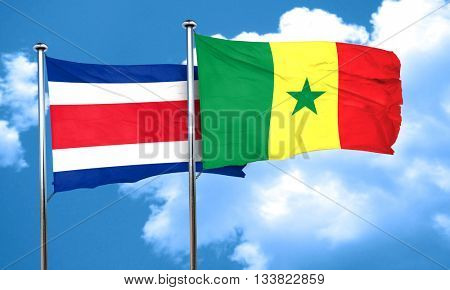 Costa Rica flag with Senegal flag, 3D rendering
