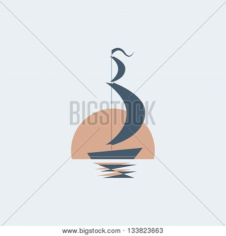 ship icon/vector sailing ship/ship on the moon backgraund