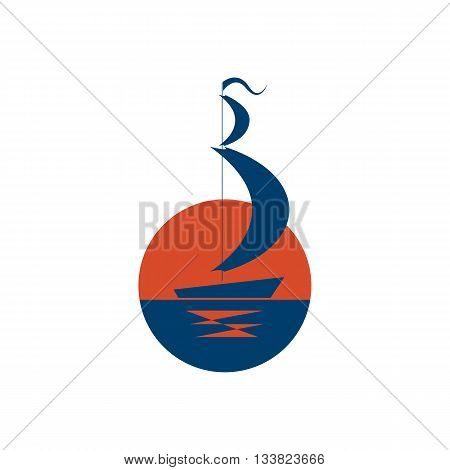 Ship logo /vector sailboat icon/ship on sea at sunset
