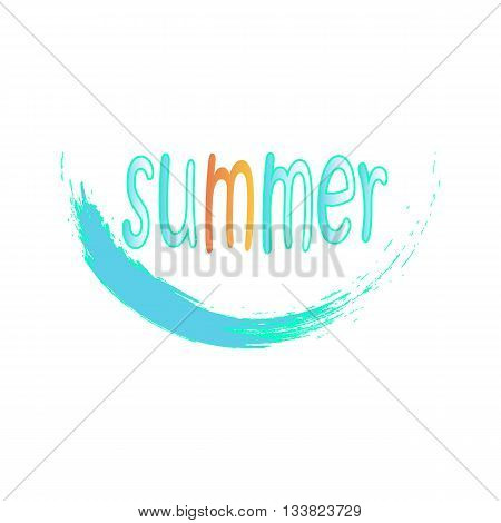 Summer vector illustration/ blue water wave/ summer writing