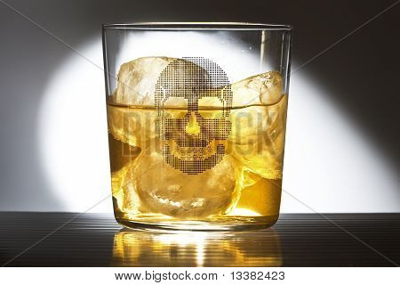 glass of whiskey with a drawing of a caravel