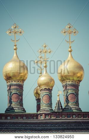 Moscow. Kremlin. Orthodoxy. Domes And Crosses Verkhospassky Cathedral Of Our Saviour The Image